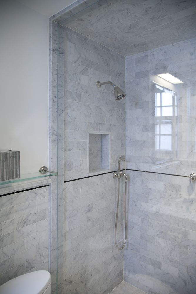 Master Bath   Marble Tile Shower The Master Bath Was Done In Our Carrara  Honed Marble
