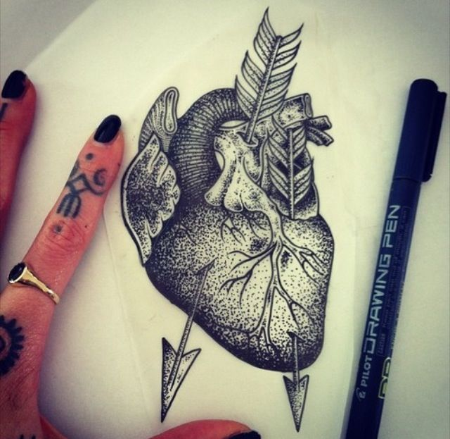 Heart tattoo by Hannah Pixie Snowdon