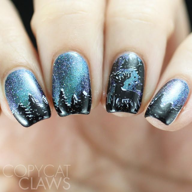Photo of The Digit-al Dozen does Accent Nails – Winter Stamping (Copycat Claws)