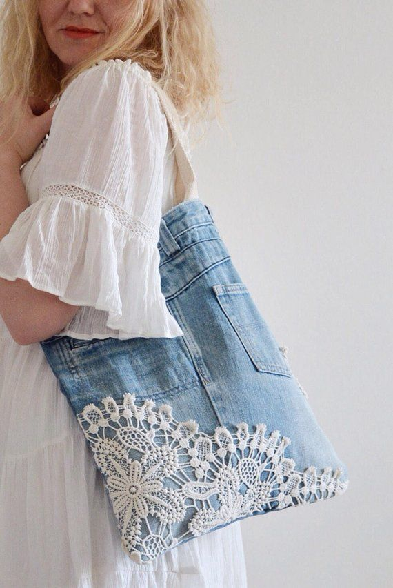 SHABBY Chic denim tote bag with lace detailing // recycled denim – upcycled bag …