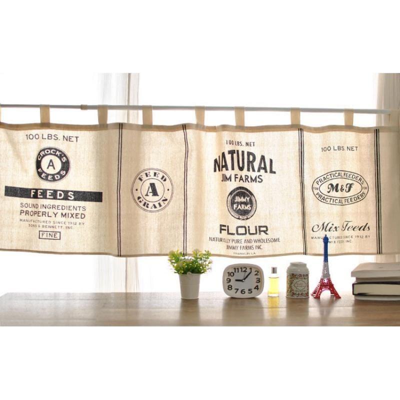 Farmhouse Style Flour Sack Kitchen Curtains