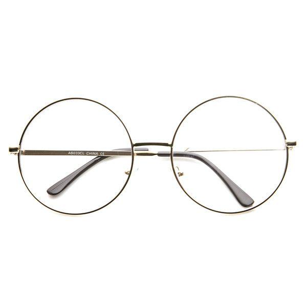 1920's Vintage Era Large Round Metal Clear Lens Glasses 8714