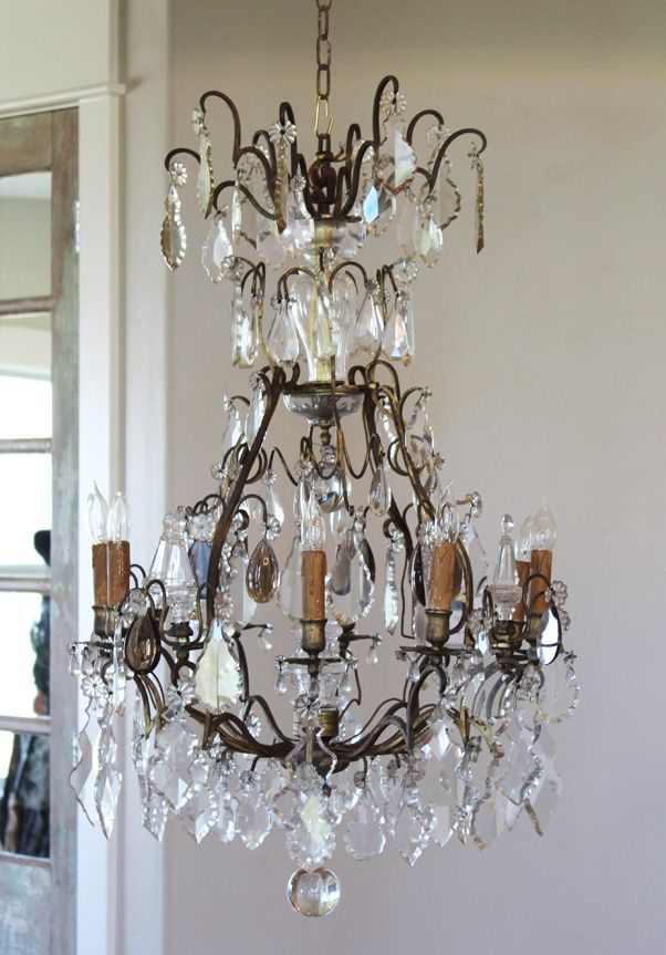 Early 1800s French Antique Bronze Crystal Electric Chandelier