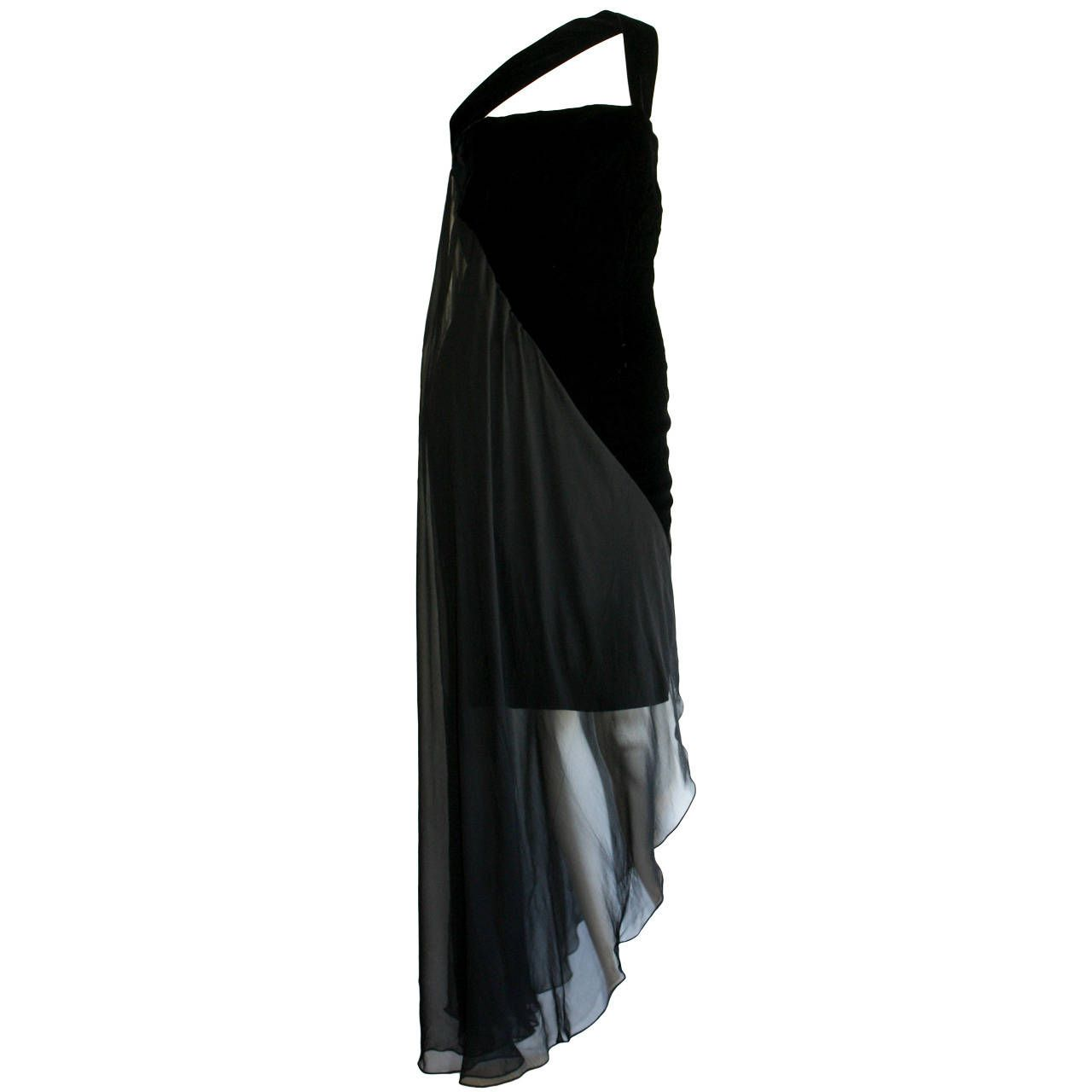 New beautiful vintage bill blass asymmetrical black velvet u chiffon