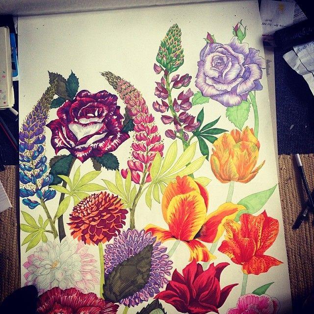 Floral hand drawn wallpaper Sophie Eccleston 2014