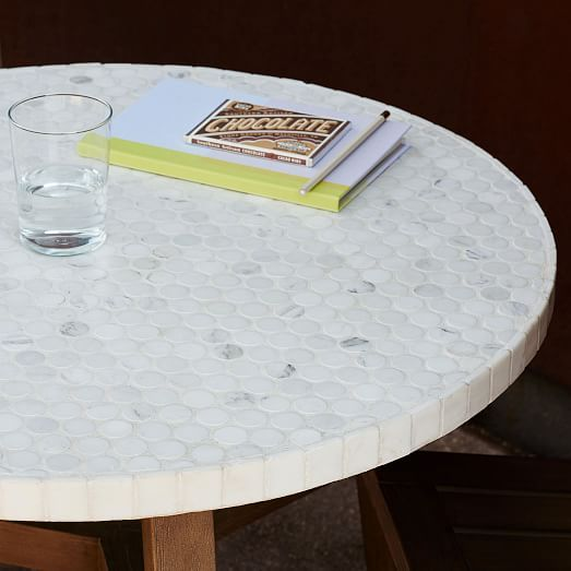 Mosaic Tiled Outdoor Bistro Table White Marble Bistro Table