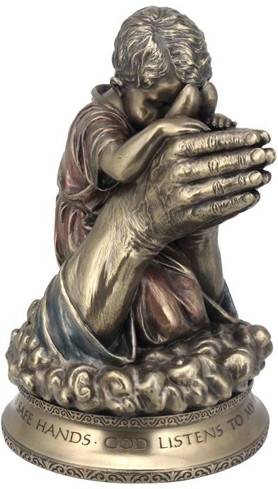 Child Praying In The Hands Of God Statue | Christian
