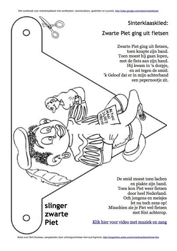Knutsel Kleurplaten Sinterklaas.Vlag Kleurplaat Zwarte Piet Sint Werkboek Werkbladen Puzzels