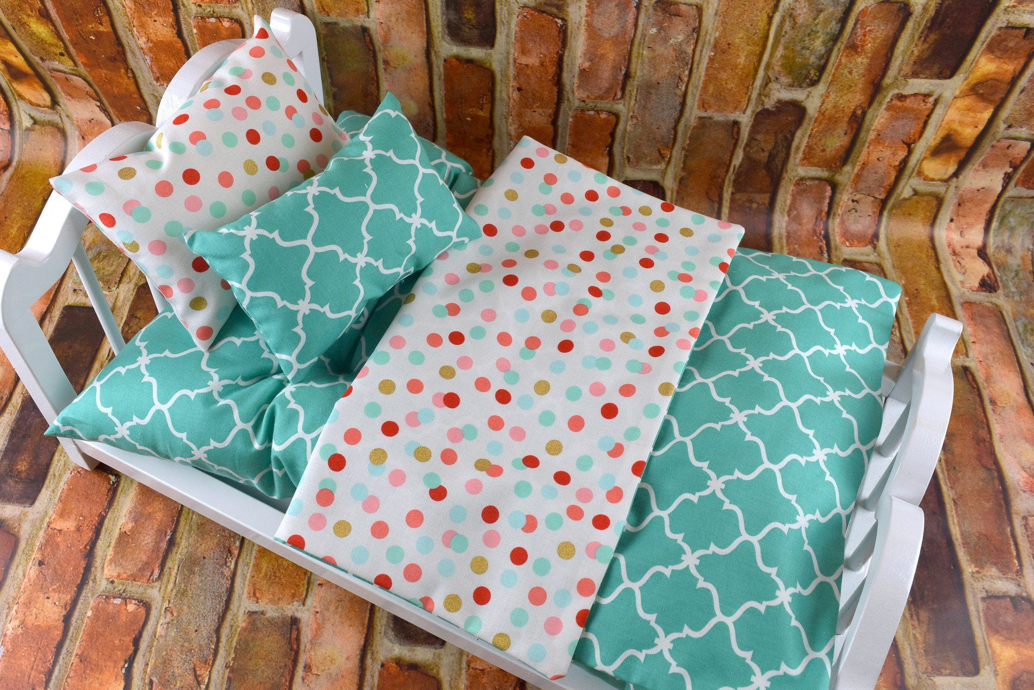 "Reversible Quilt Handmade 18/"" Doll Bedding Set 2 Pillows-Pink Brown Polka Dot"