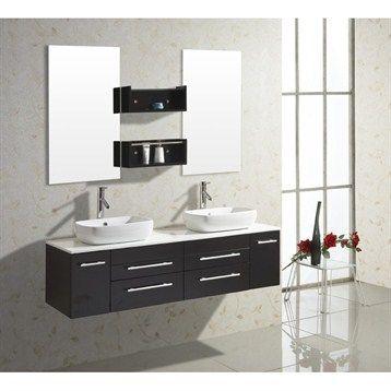 Virtu Usa Augustine 59 Double Sink Bathroom Vanity Espresso