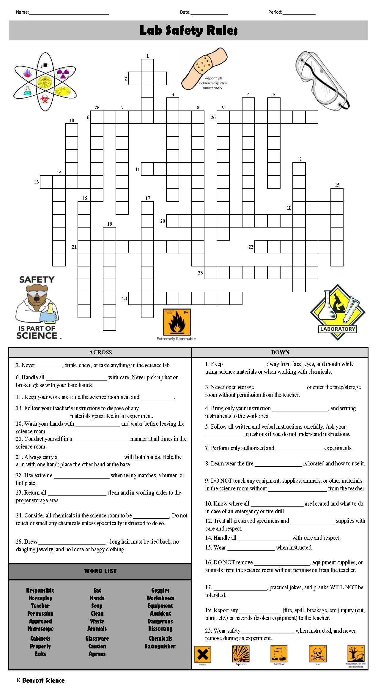 Lab Safety Rules Crossword Puzzle Lab Safety Lab Safety Rules Safety Rules [ 2333 x 1309 Pixel ]