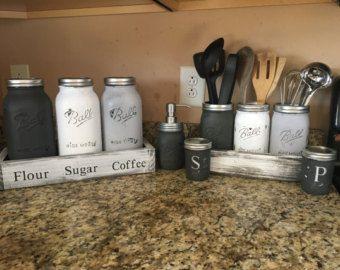 Mason Jar Utensil Holder Kitchen Utensil Jar Soap Dispenser Etsy Mason Jar Kitchen Mason Jar Diy Mason Jar Crafts Diy