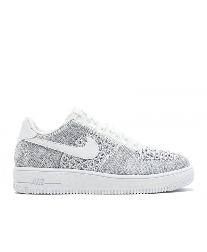 newest 8a158 77936 Air Force 1 Flyknit Low Cool Grey, White, White 817419-006
