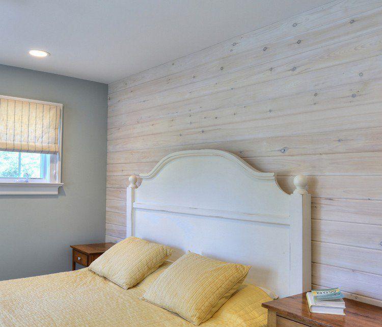 Lambris bois blanc inviter le style campagne chic la for Chambre parentale blanche