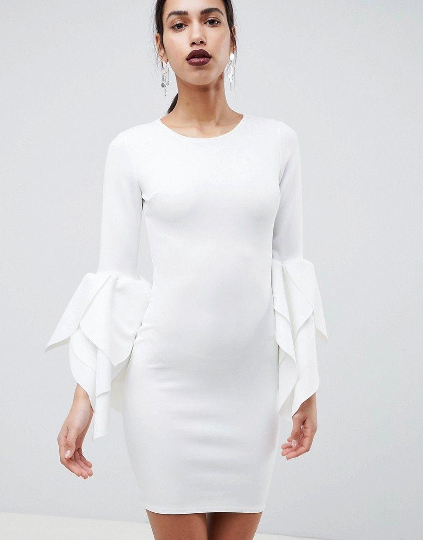 Club L Figurbetontes Kleid Mit Armeldetail Aus Neopren Weiss