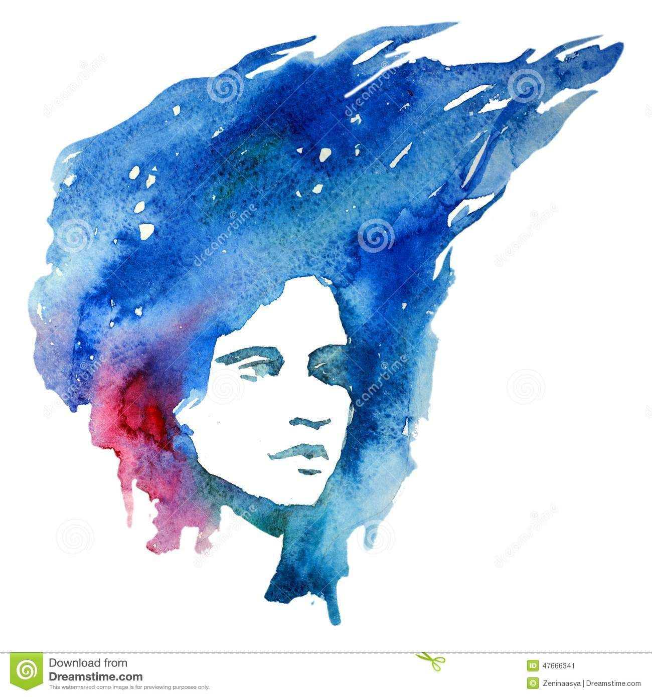 Watercolor Girl Portrait Doodle Creative Lady Creativity