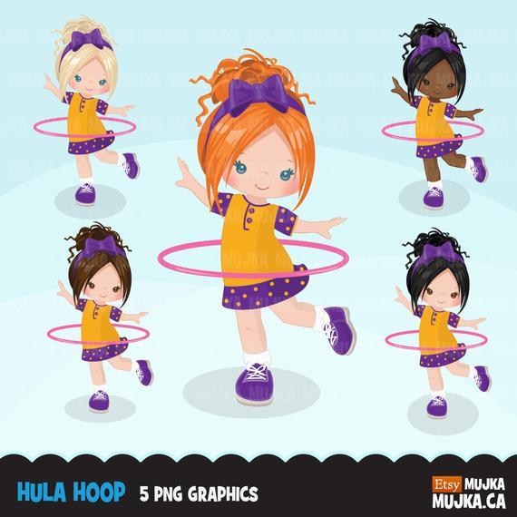 Hula Hoop Girls Clipart Outdoors Activity Hula Hoop Graphics Etsy In 2021 Girl Clipart Clip Art Scrapbooking Set
