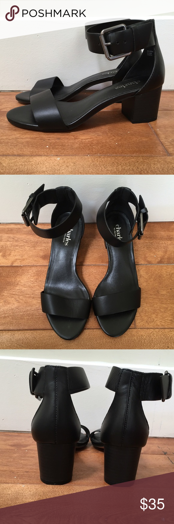 Black sandals 2 inch heel - Charles David Black Strap Sandals 2 Inch Heelscharles