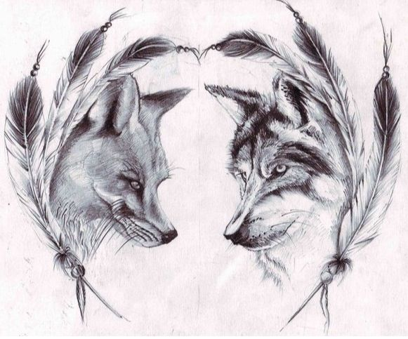 30 Matching Tattoo Ideas For Couples Sketches Fox Tattoo Design Wolf Tattoos
