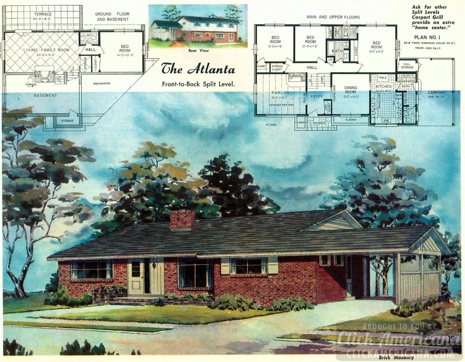 The Atlanta Split Level Home Plans From 1958 Ranch House Floor Plans Brick Ranch House Plans Brick House Plans
