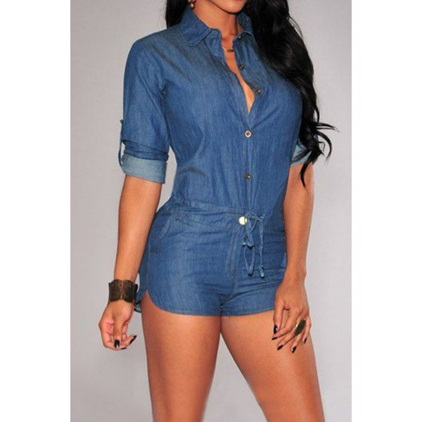 Vintage Shirt Collar Solid Color 3/4 Sleeve Lace-Up Jeans Rompers ...