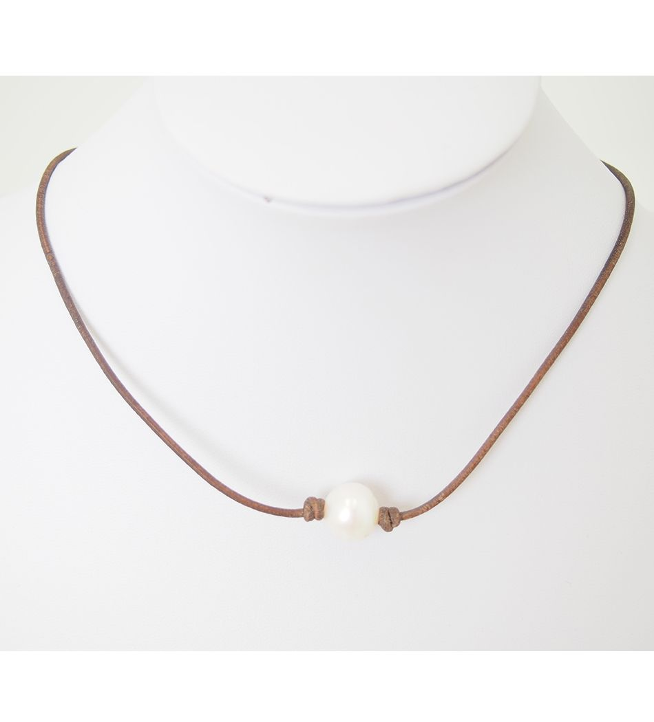 Lundy Lu Single Fresh Water Pearl On Tan Leather Necklace