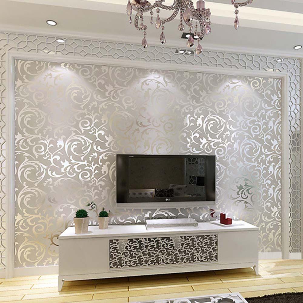 10M Luxus Silber 3D Viktorianische Damast Geprägte Tapete Rolls ...