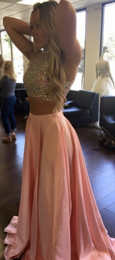 Sparkle Pink Two Piece Prom Dress | Dresses | Pinterest | Kleidung ...