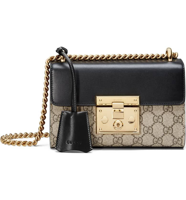 a736a0d1 GUUCI Small Padlock GG Supreme Canvas & Leather Shoulder Bag Price$1,750.00
