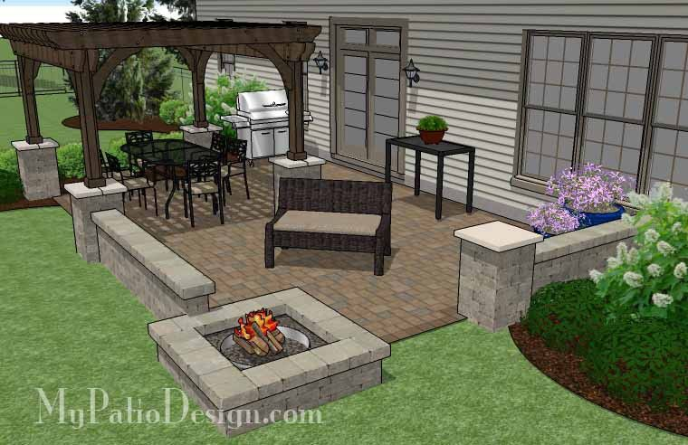 440 Sq Ft Large Rectangular Paver Patio Design With Fire Pit