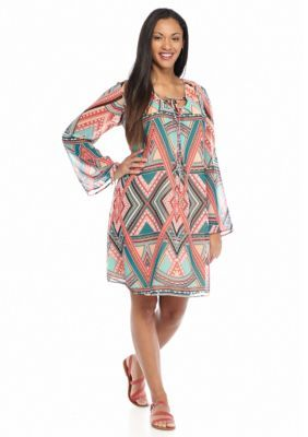 Speechless  Plus Size Lace-Up Printed Dress