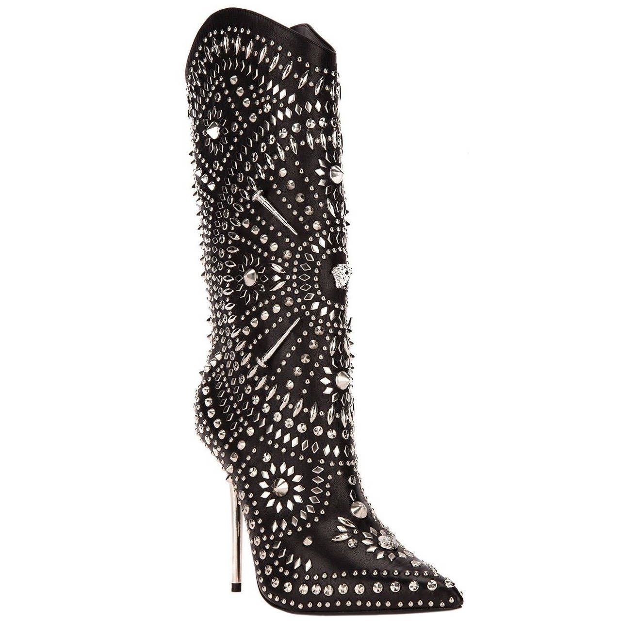 e3e76152205f New VERSACE Black Leather Studded Western Stiletto Boots | From a  collection of rare vintage shoes