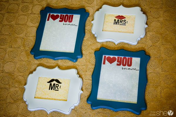 """DIY """"I love you because"""" boards. Frames are from Hobby Lobby. Decorate the paper underneath and write on the glass"""