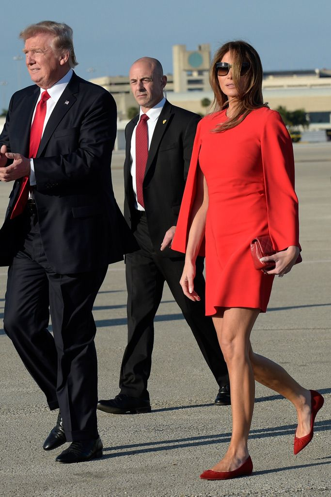 85c8693840cf Melania Trump wears Christian Louboutin pointed-toe flats as she and Donald  Trump arrive at Palm Beach International Airport.