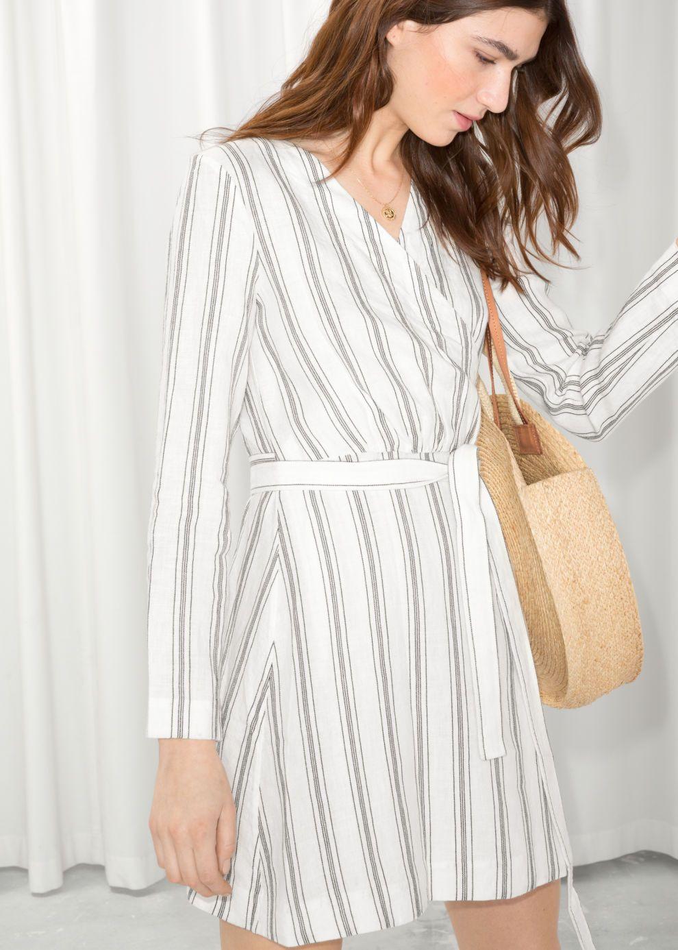Striped Linen Blend Wrap Dress Dresses Mini Dress Striped Mini Dress [ 1386 x 990 Pixel ]