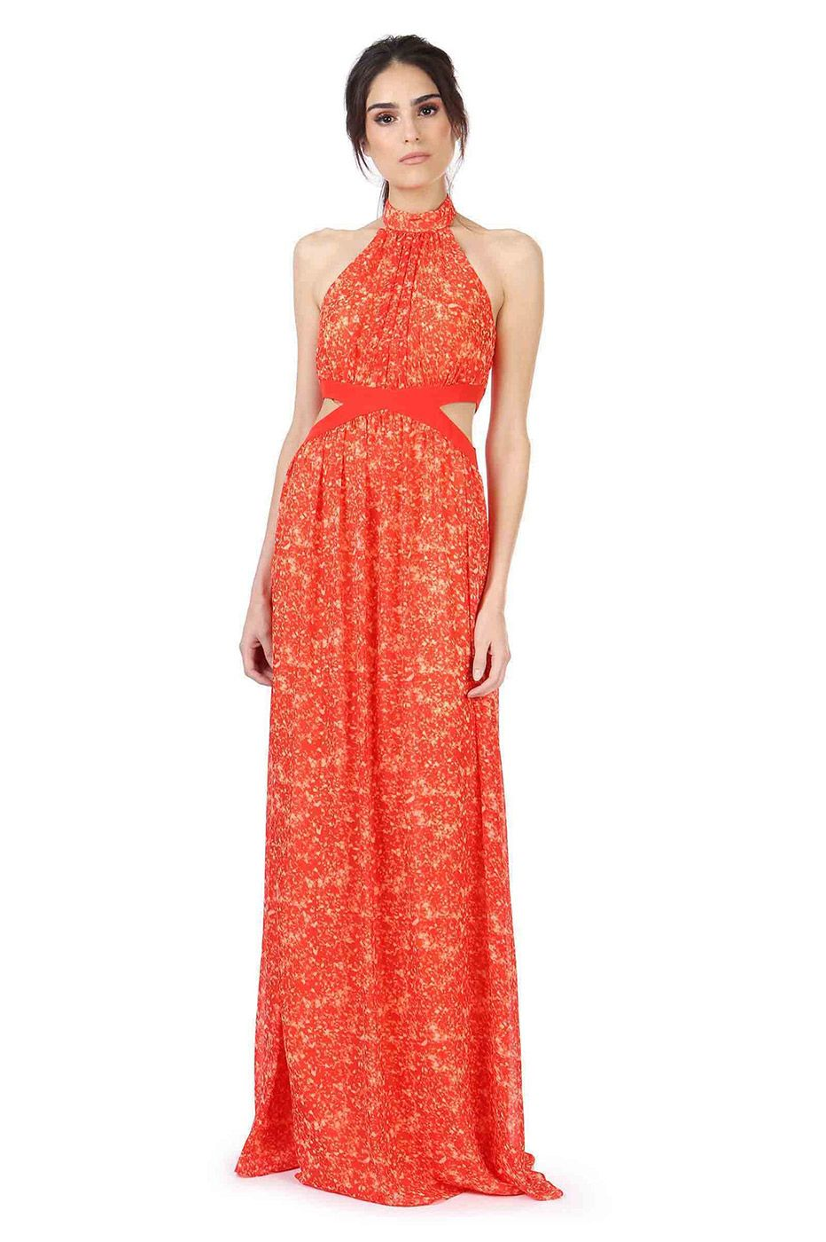 378c031765 PARRIS MAXI DRESS was  465 now  140 PRINTED SILK CHIFFON GOWN WITH SHIRRED  HIGH NECK AND