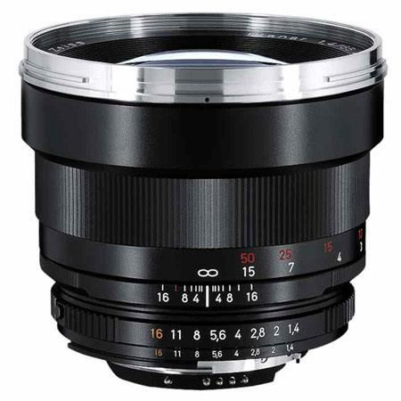 Zeiss 85mm f/1.4 Planar T* ZF.2 Manual Focus Telephoto Lens for the Nikon F (AI-S) Bayonet SLR System.