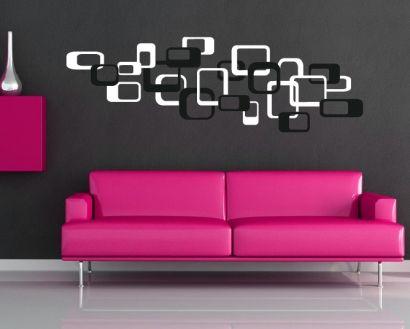 Retro Wandtattoos - Cubes Wandsticker fürs Wohnzimmer Würfel - wandtattoo wohnzimmer retro