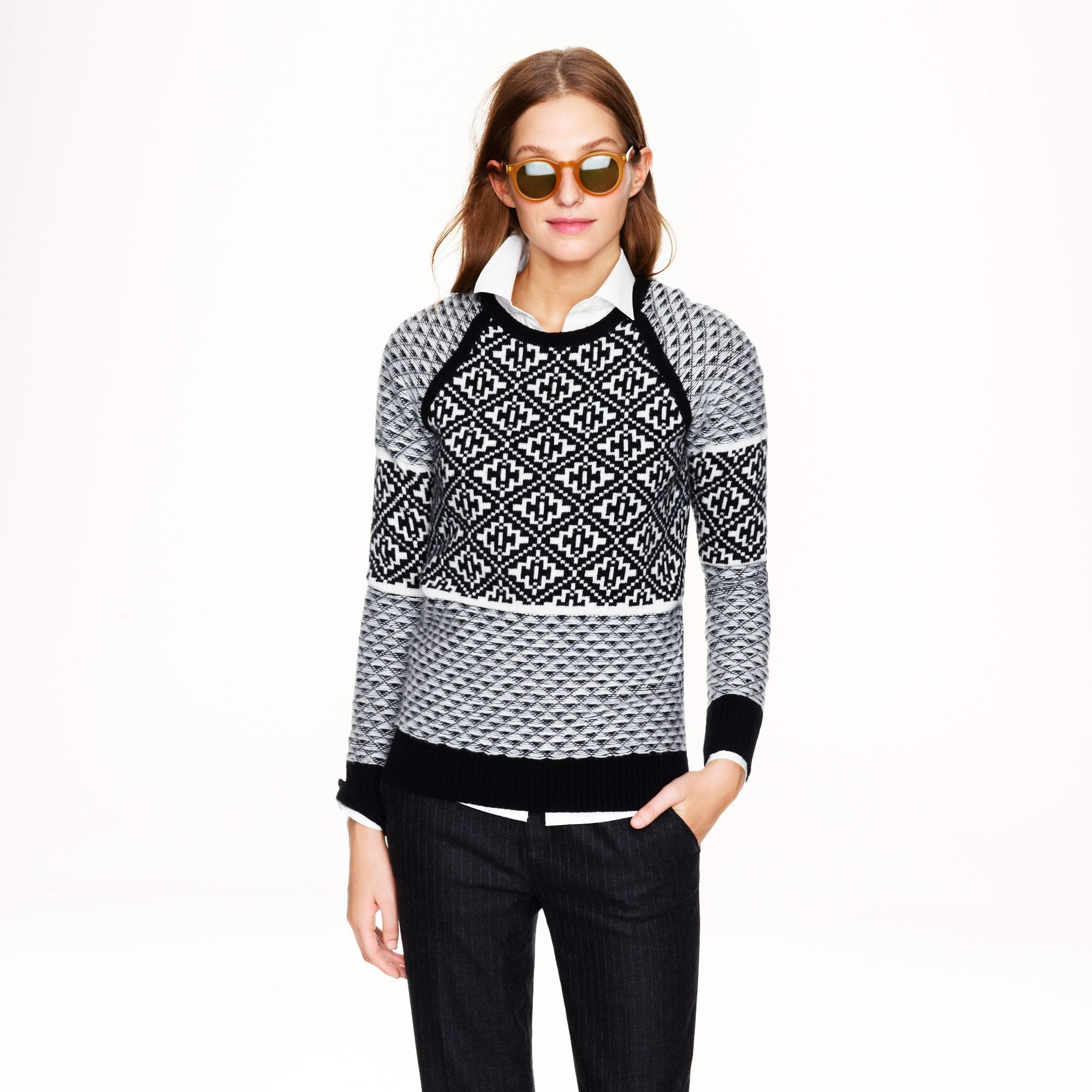 J.crew Handkerchief Fair Isle Sweater in White (black ivory ...