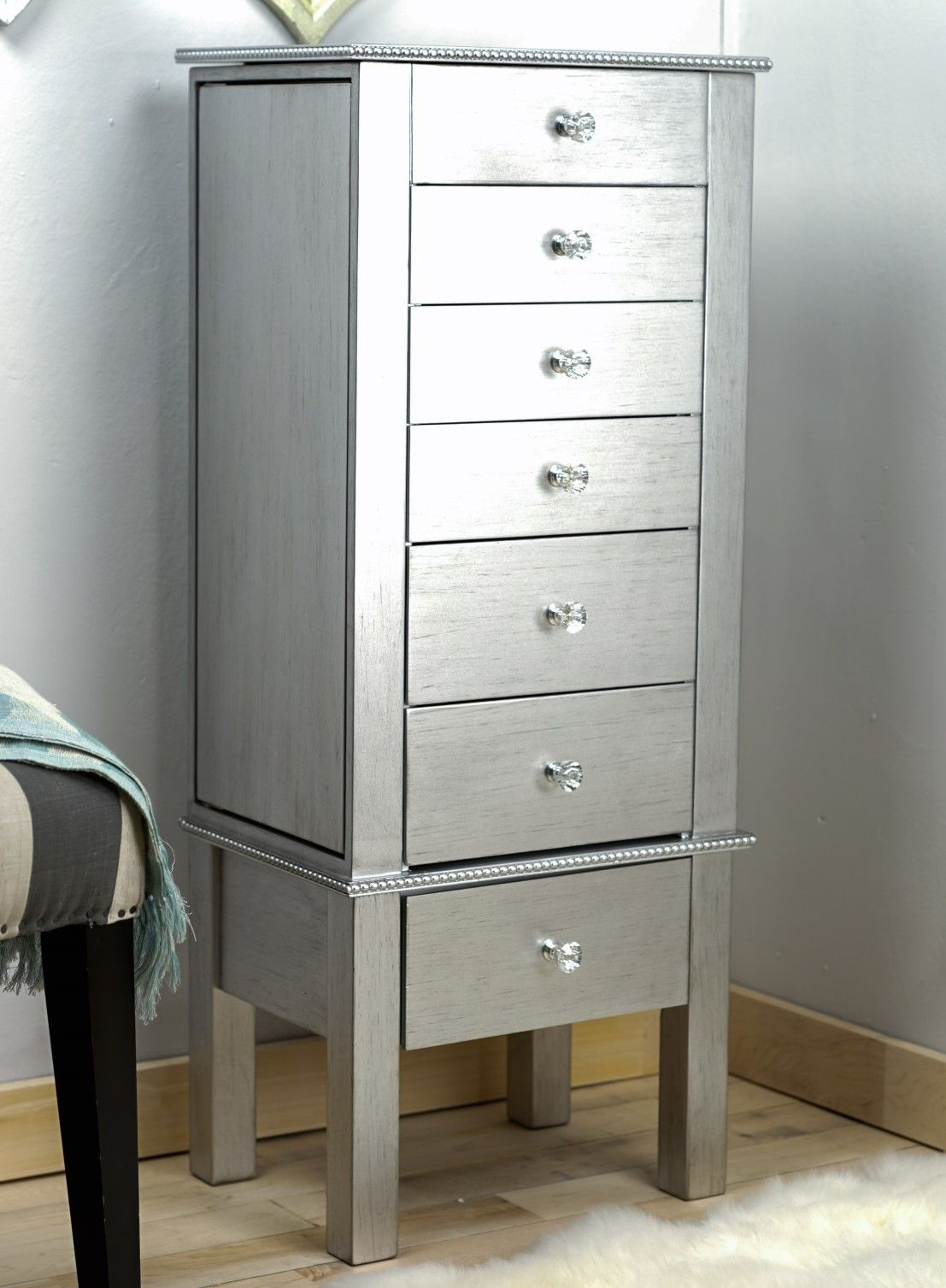 Hannah Jewelry Armoire in Silver Leaf by Hives and Honey Painted