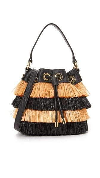 Milly Raffia Bucket Bag Bags Shoulder Hand Leather