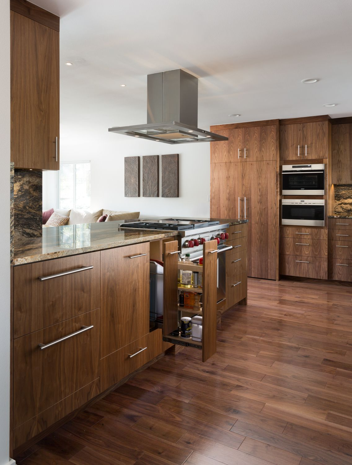 Kitchen Remodel By Jameson Interiors Featuring Gorgeous Walnut Cabinetry And Built In Subzerowolf Appliances With Images Kitchen Remodel Contemporary Kitchen Kitchen