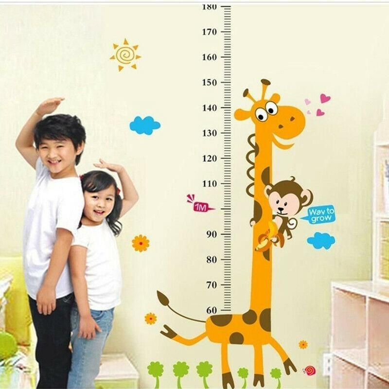 Animal Zoo Height Growth Chart Measure PVC Wall Decal Sticker Kids Baby Nursery