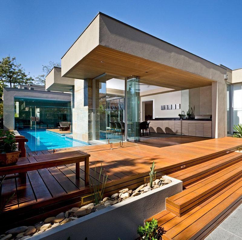 terrazas modernas revestidas con madera piletas pinterest