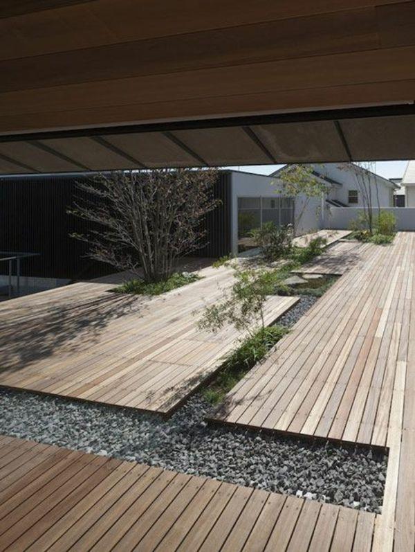 Schöne Garten Bilder Gartendekorationen Holz Bodenbelag