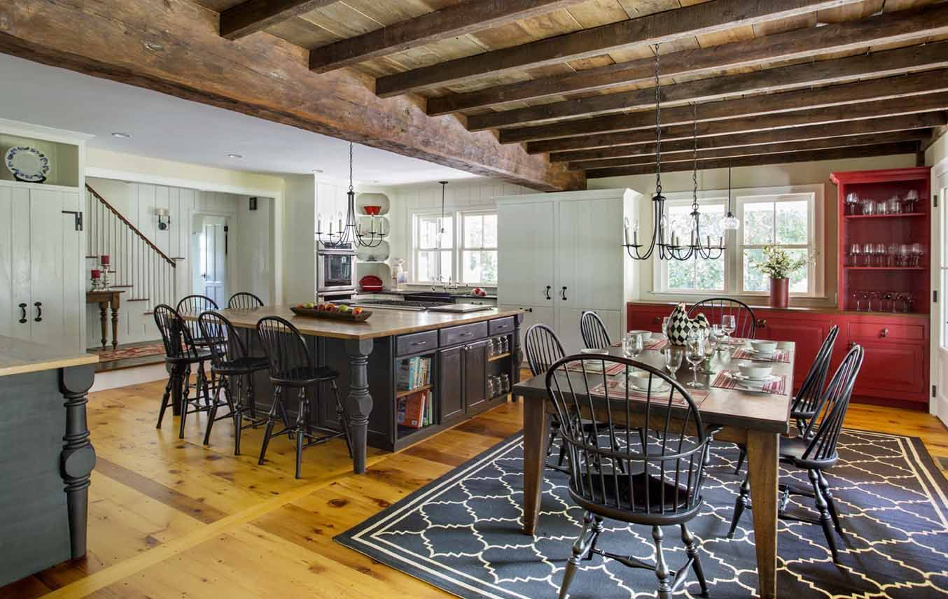 Amazing Farmhouse Kitchen And Dining Room Wide Pine Floors Exposed Beams White Cabinets