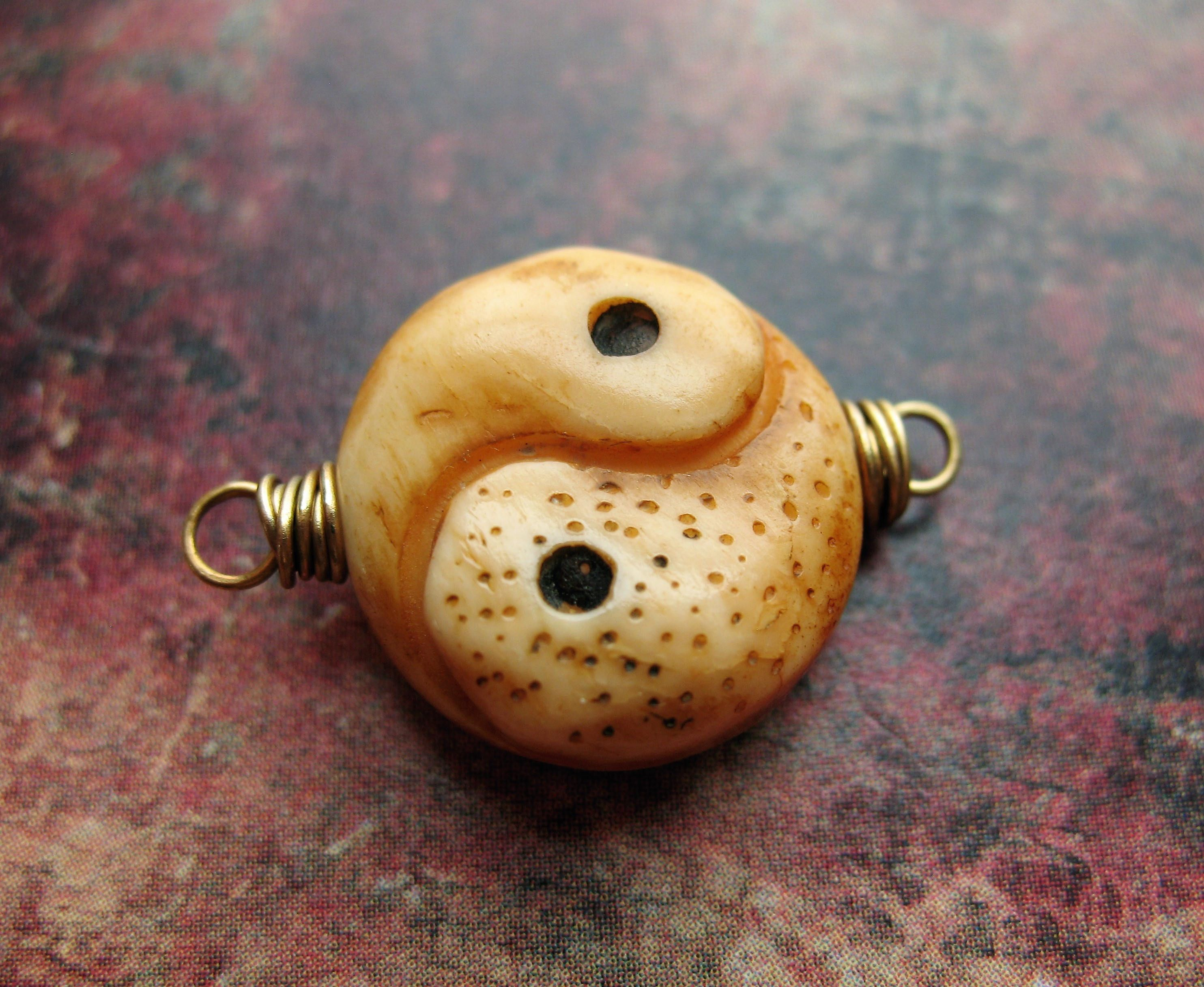 Carved Yin and Yang Bone Coin Antiqued Brass Bead Connector mm