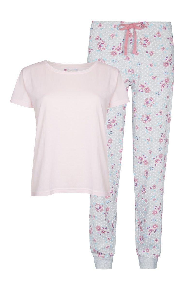 Primark - Pijama padrão floral e bolas cor de rosa