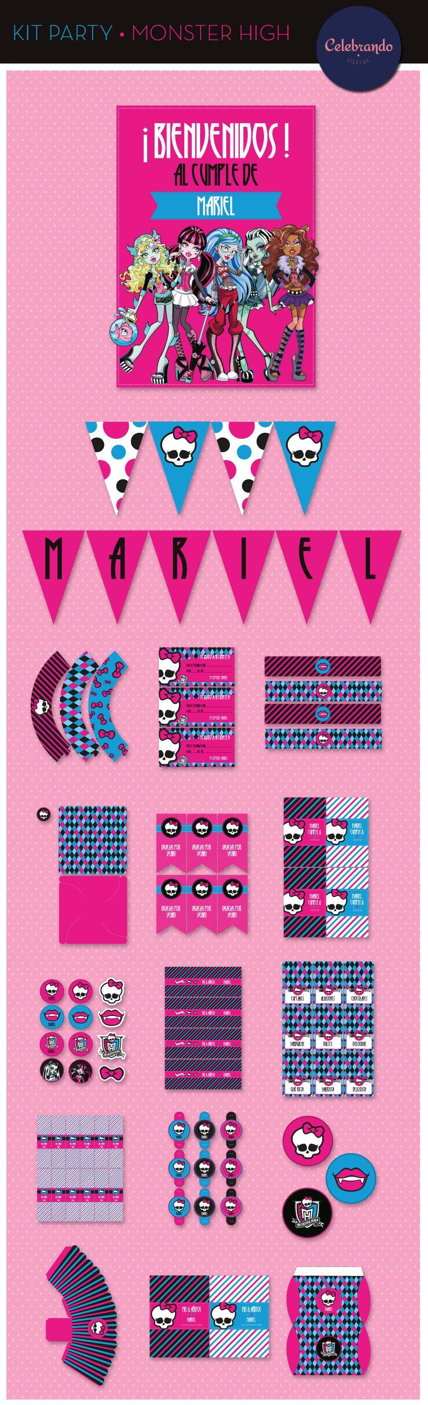 Kit imprimible printable Monster High Celebrando Fiestas – Monster High Birthday Card