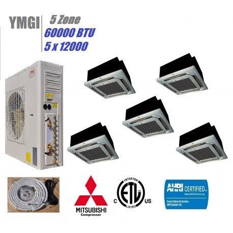 Ymgi 60000 Btu 5 Quint Zone Ductless Split Air Conditioner With Heat Pump Heat Pump Ductless Heat Pump Heat Pump Heat Air Units